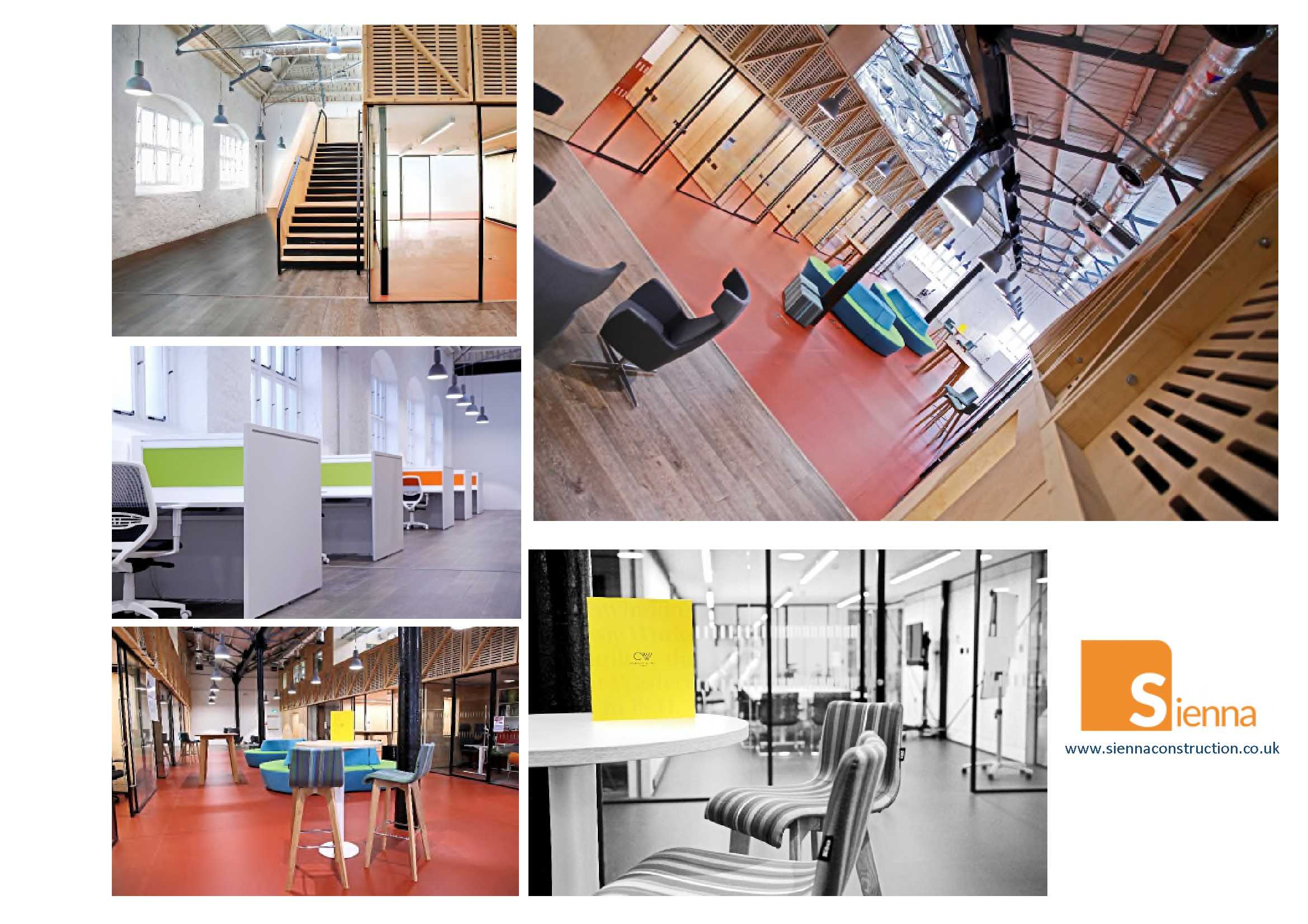 Collage of completion of photos of the new offices space
