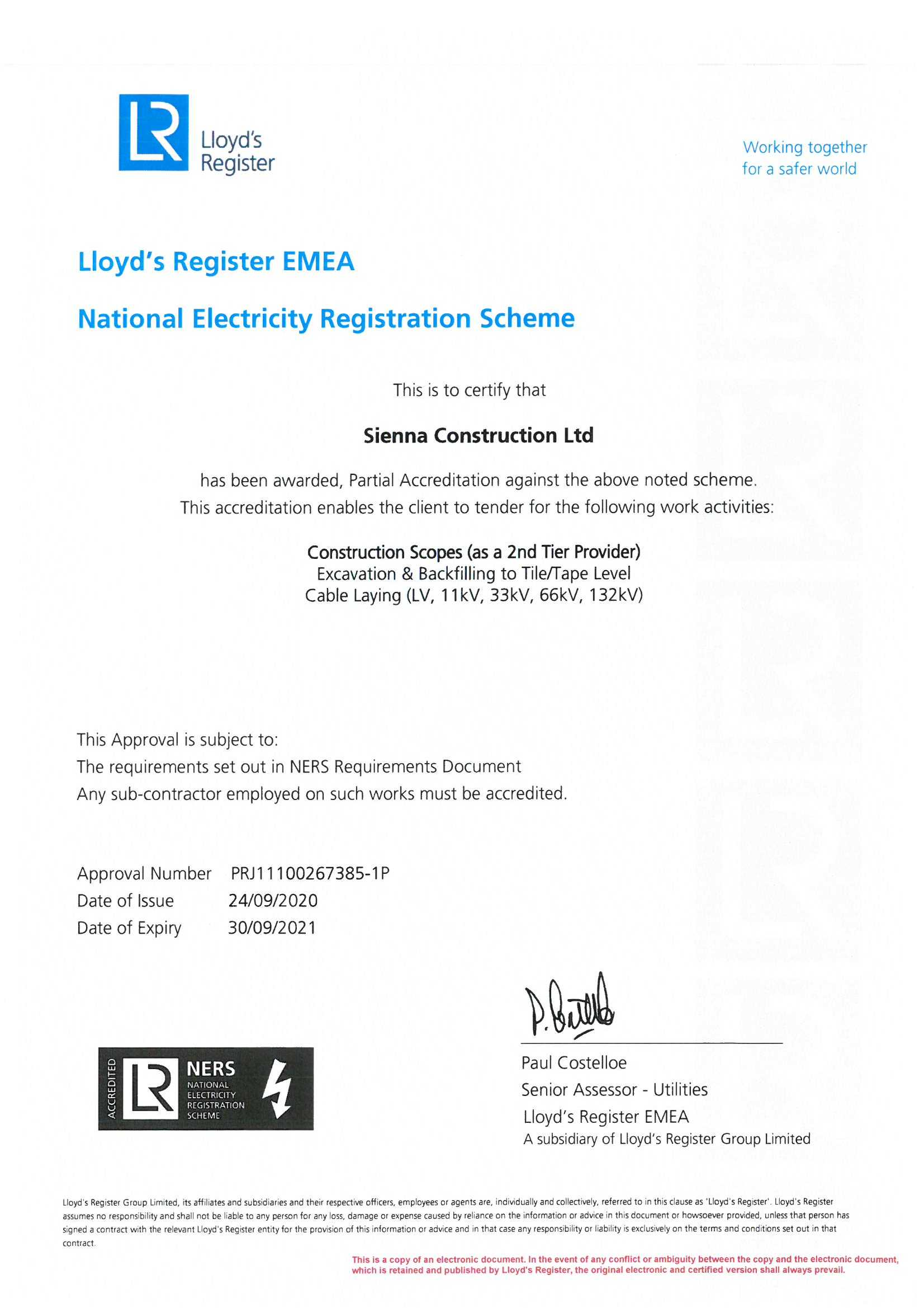 NERS certificate